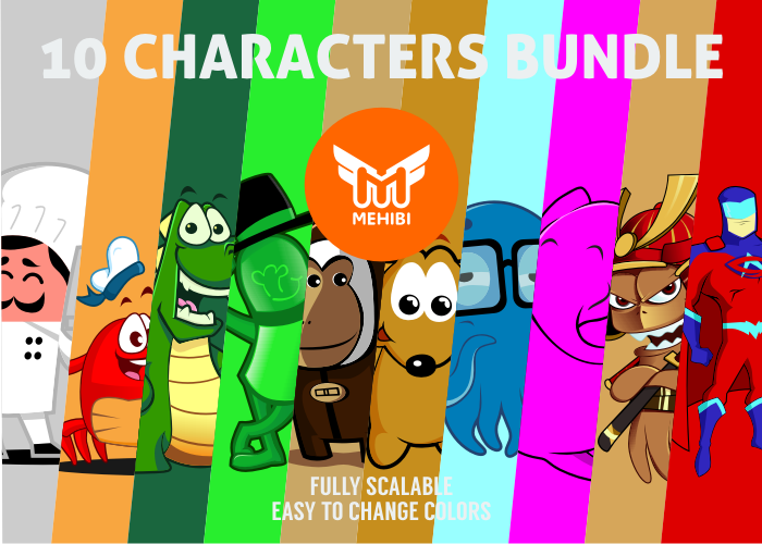 COVER 10 CHARACTER BUNDLE 700 500 Sunday Freebies   High quality web resources