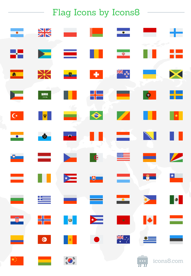 Counrty wise flag icons